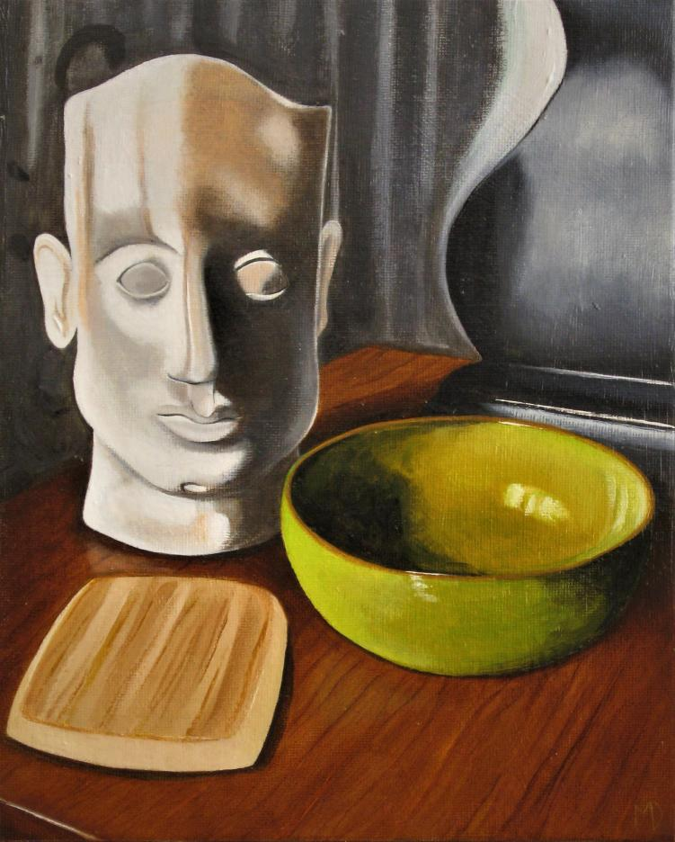Green bowl with bust by Martin Davis
