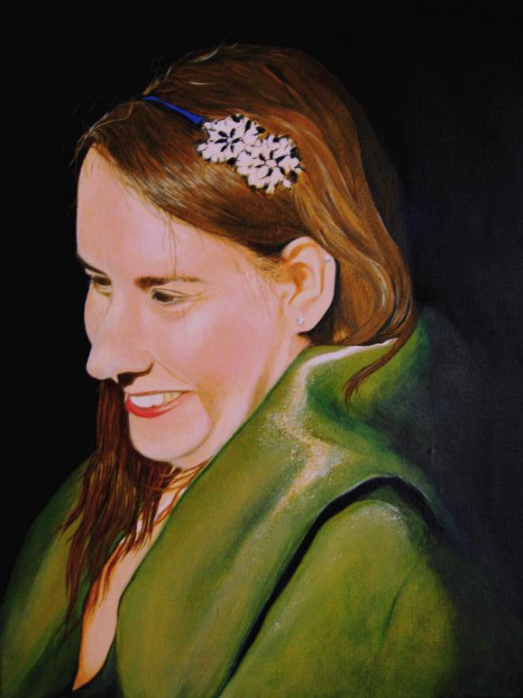 Lea with a green shawl by Martin Davis